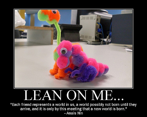 Lean On Me meme w pipe cleaner dinasour