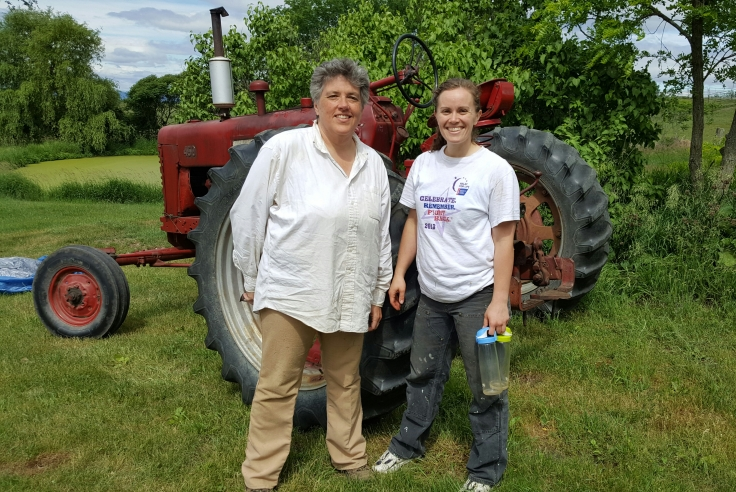 Pam  and Krystal w tractor