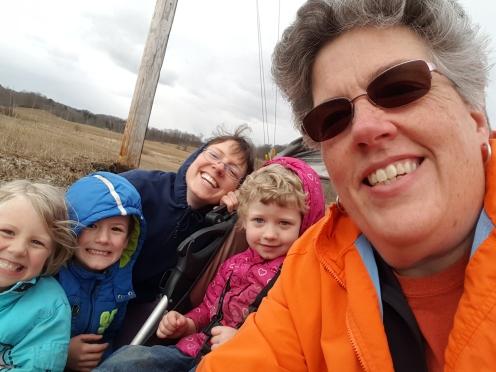 Pam-Ashley-kids on a walk-run